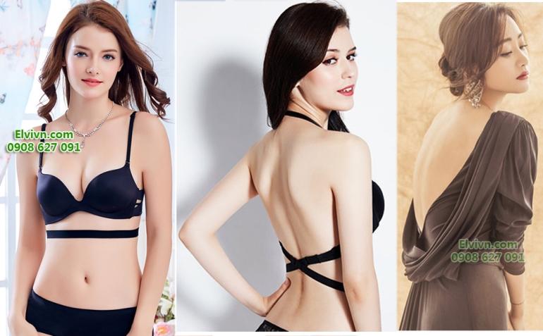 Áo ngực không dây, áo ngực mặc đầm hở lưng, áo ngực nâng ngực siêu dày - 46